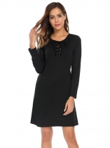 Black Lace Up Solid Slim Fit Dress with Pocket