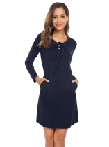 Navy blue Lace Up Solid Slim Fit Dress with Pocket