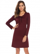 Wine red Lace Up Solid Slim Fit Dress with Pocket
