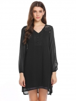 Black Puff Sleeve Lace Patchwork Chiffon Dress