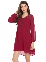 Wine red Puff Sleeve Lace Patchwork Chiffon Dress