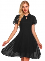 Black Tie Bow Neck Solid Chiffon Dress