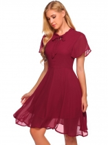 Wine red Tie Bow Neck Solid Chiffon Dress