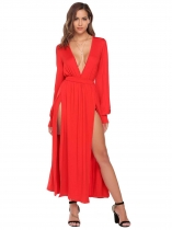 Red Deep V-Neck Long Sleeve Solid Split Hem Maxi Dress