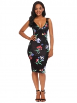 Black Flora Mulheres com decote em V mangas florais / Dot Bodycon Cocktail Party Pencil Dress