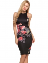 Black O-Neck Sleeveless Floral Print Bodycon Dress