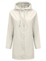 White Hooded Long Sleeve Lightweight Solid Coat