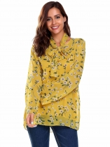 Yellow Flare Sleeve O Neck Floral Print Chiffon Shirt Blouse With Tie