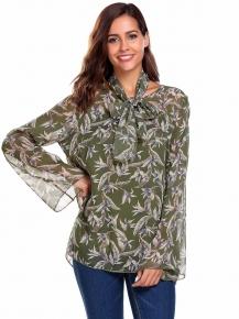 9141782718 Verde Top de la blusa camisa gasa impresión floral del cuello manga O llamarada  las mujeres. VISTA RÁPIDA. MEANEOR