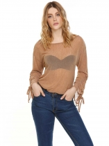 Dark brown O-Neck Drawstring Cuffs Ruffle See Through Solid Tops