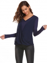 Navy blue Solid Sleeve V-neck Cross Draped Loose Tops