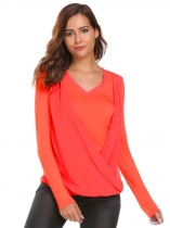 Orange Frauen Langarm V-Ausschnitt Cross Drapiert T-Shirt Lose Solid Tops