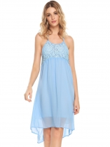 Light blue Halter Backless Lace Chiffon Empire Waist Dress