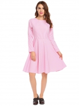 Pink Casual O-Neck Long Sleeve Plaid Swing Dress
