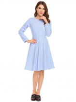 Light blue Casual O-Neck Long Sleeve Plaid Swing Dress
