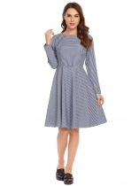 Navy blue Casual O-Neck Long Sleeve Plaid Swing Dress