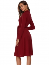 Wine red Long Sleeve Buttons Front Belted Solid Dress
