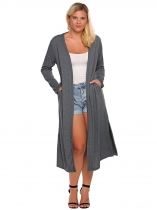 Dark gray Plus Size Long Sleeve Solid Open Front Side Split Long Cardigan