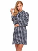 Námořnická modrá Women Long Sleeve Striped Loose Short Shirt Dress