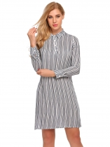 Bílá Women Long Sleeve Striped Loose Short Shirt Dress