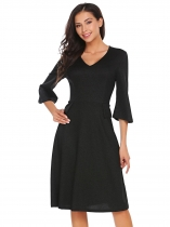 Noir Femmes Vintage Style Deep V-Neck 3/4 Flare Sleeve High Waist Swing Party Dress