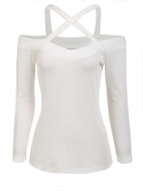 White Solid Front Cross Straps Slim Fit Stretchy Tops