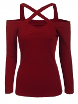 Wine red Solid Front Cross Straps Slim Fit Stretchy Tops