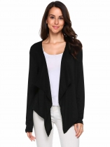 Black Long Sleeve Asymmetrical Solid Open Front Cardigan