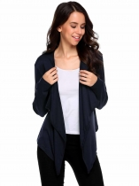 Navy blue Long Sleeve Asymmetrical Solid Open Front Cardigan