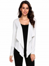 White Long Sleeve Asymmetrical Solid Open Front Cardigan