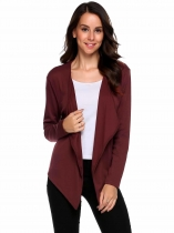 Wine red Long Sleeve Asymmetrical Solid Open Front Cardigan