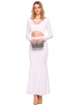 White Femmes Casual O-Neck à manches longues Solid Front Hollow Out Fishtail Sexy Long Dress