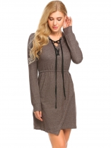 Brown Criss Cross Lace Up Front Long Sleeve Slim Fit Asymmetrical Casual Dress