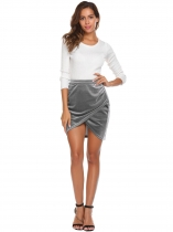 Grey High Waist Velvet Pencil Mini Split OL Skirt