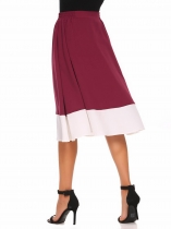 Wine red Elastic Waist Patchwork A-Line Skirt