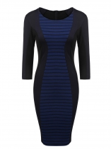 Dark blue Women 3/4 Sleeve Striped Contrast Color Patchwork Bodycon Party Pencil Dress
