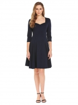 Navy blue Les femmes Vintage Style Sweetheart Neck manches 3/4 soirée Swing Dress