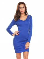 Royal Blue Women Sexy V-Neck Long Sleeve Lace Patchwork Backless Bodycon Club Party Dress