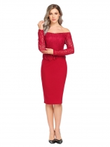 Wine red Women Off Shoulder Long Sleeve Lace Patchwork Bodycon Party Peplum Pencil Dress