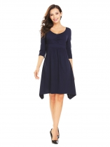 Navy blue Women V-Neck 3/4 Sleeve Solid Irregular Slim Fit Casual Empire Waist Dress