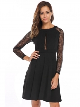 Black Long Sleeve Lace Patchwork Pleated Dress