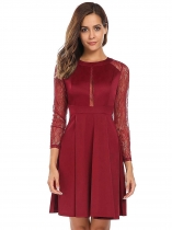 Wine red Long Sleeve Lace Patchwork Pleated Dress