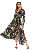 Black Bohemian Shawl Neck Long Sleeve Floral Button Front Split Maxi Beach Dress