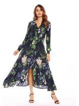Navy blue Bohemian Shawl Neck Long Sleeve Floral Button Front Split Maxi Beach Dress