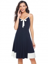 Navy blue Spaghetti Strap Bow Backless Patchwork Dress