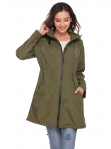Army green Lightweight Travel Hooded Windproof Hiking Waterproof Raincoat