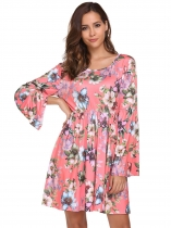 Pink Flare Sleeve Print Backless Shift Dress