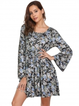 Black Flare Sleeve Print Backless Shift Dress
