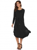 Black Long Sleeve Drawstring Waist Asymmetrical Dress