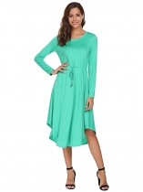 Green Long Sleeve Drawstring Waist Asymmetrical Dress